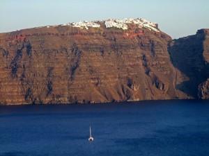 santorini near volcano